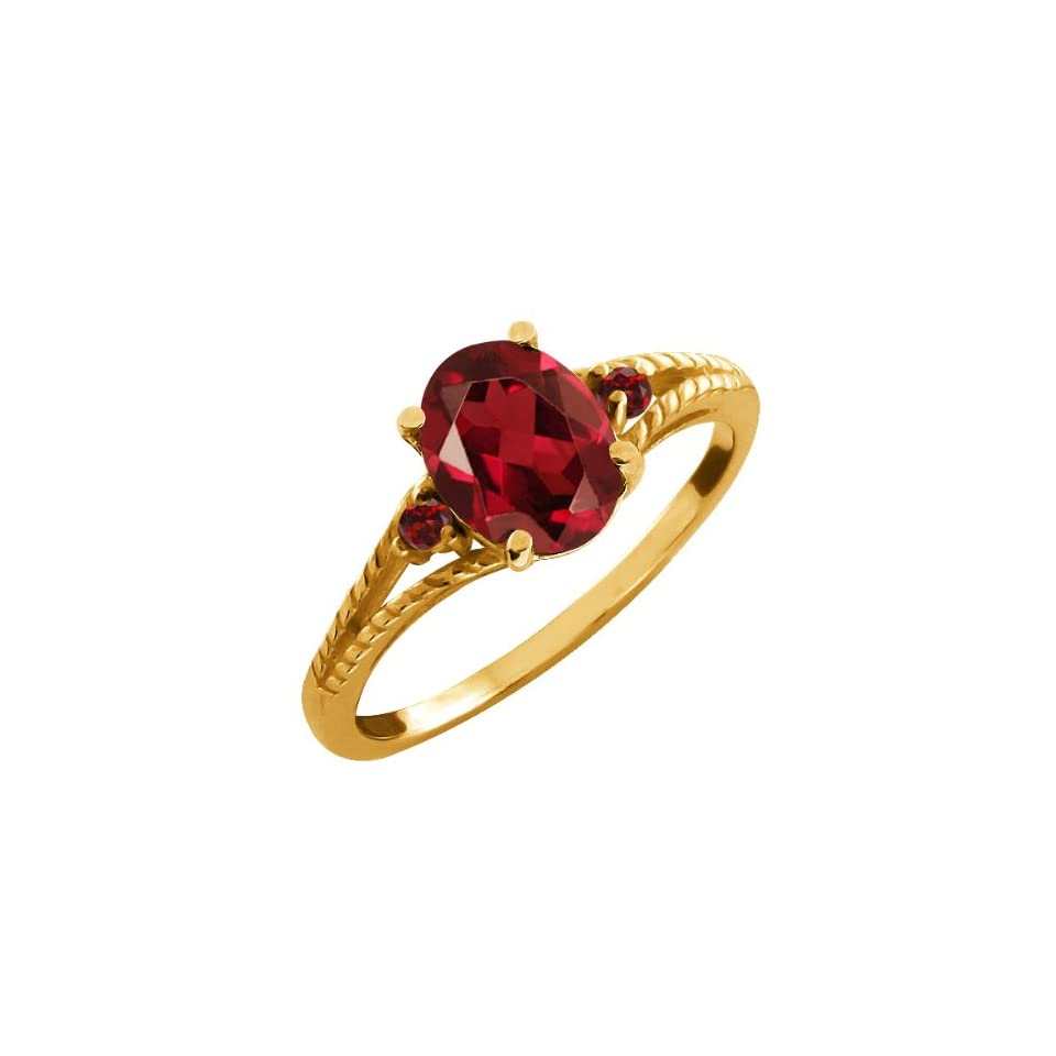 2.07 Ct Genuine Oval Red Garnet Gemstone 14k Yellow Gold Ring