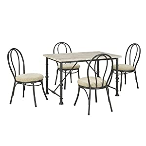 Dorel Asia 5-Piece Metal and Faux Marble Top Dining Set