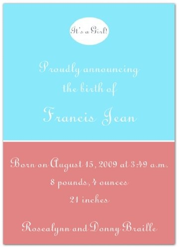 Hello Deco in Blue and Red Birth Announcements - Set of 20