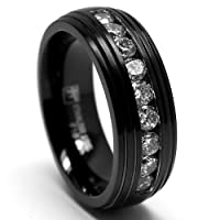 8MM Black Stainless Steel Ring Wedding Band with CZ Sizes 8 to 12