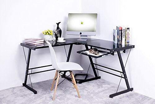 Merax L-shape Computer Desk Table Workstation Corner Home Office, Black and Black Glass
