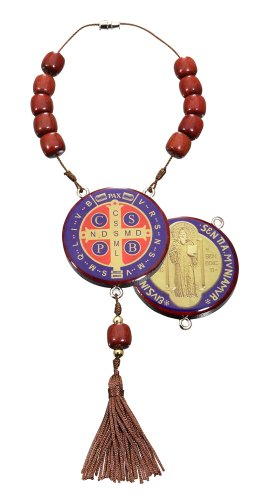 St Benedict Medal Car Mirror Decade Rosary/Home Protection, Made in Brazil, 11 Inch (Protection Home compare prices)