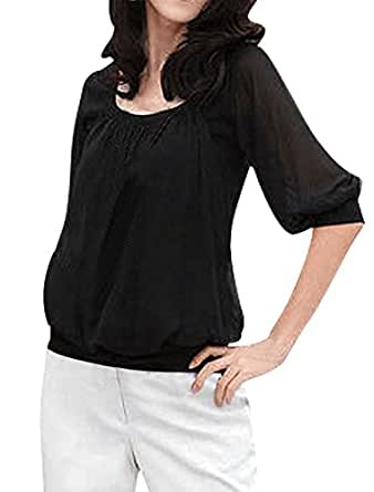 Allegra K Women Half Sleeve Panel Stretchy Summer Casual Tee Tops