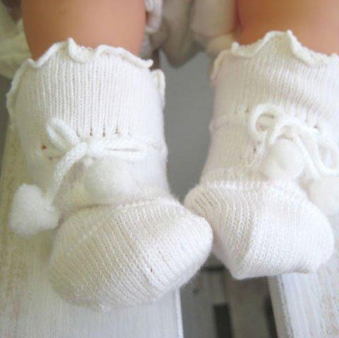 紐結び ズレない新生児用ソックス 8センチ ベビー用靴下
