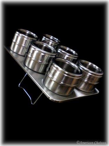 Imagen de Acero inoxidable Spice Rack con 6 tarros magnéticos