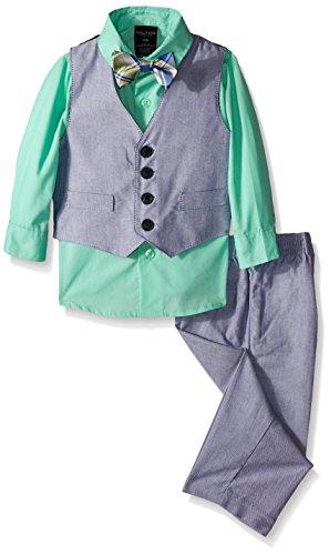 Nautica Baby Chambray Vest Set, Sweet Mint, 12 Months
