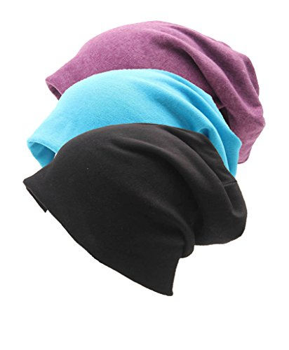 Encan Unisex Indoors Cotton Beanie- Soft Sleep Cap for Hairloss, Cancer, Chemo 3 - Pack,COLORS,One Size (Cancer Head Caps compare prices)