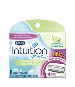 Schick Intuition Plus Refill Cartridges in Cucumber Melon, Refreshing Moisture, 6-Count (4 Blades)