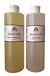 Sweet Almond Oil & Fractionated Coconut Oil 16 oz 2 pack - Pure Organic Natural Moisturizing Carrier Oils. Rich in Anti-oxidants, Vitamin E.