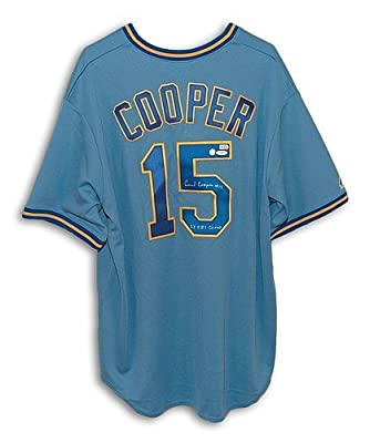 Cecil Cooper Milwaukee Brewers Autographed Blue Majestic Jersey Inscribed 2X RBI Champ - Certified Authentic