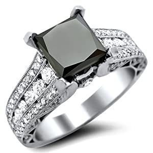2.91ct Black Princess Cut Diamond Engagement Ring 18k White Gold With a 1.81ct Center Diamond and 1.10ct of Surrounding Diamonds
