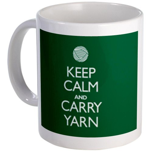 Cafepress Green Keep Calm And Carry Yarn Mug - Standard Multi-Color