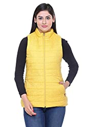 Trufit Sleeveless long Printed Women's Yellow Nylon Polyetser High Neck Polyfill Jacket