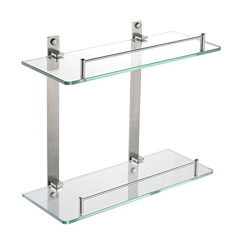 Bathroom glass shelf wall mount 2 tier stainless steel - Bathroom shelves stainless steel ...