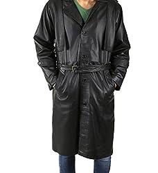 Shagoon Emporium Men's Leather OverCoat(sh0042_Black_Medium)