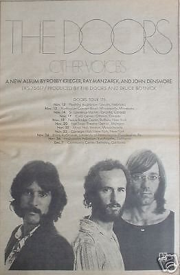 Doors Rare 1971 No J Morrison Promo Poster Type Tour Ad