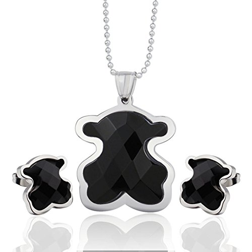 GOMO Vintage tou bear jewelry sets stainless steel metal with black rhinestone silver & gold plated