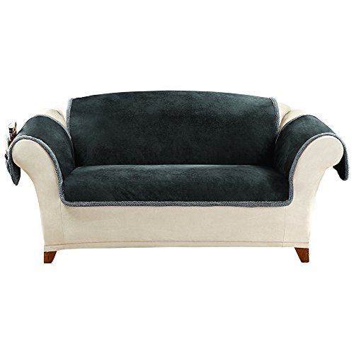 Sure Fit Vintage Leather - Loveseat Slipcover- Black (SF43784)