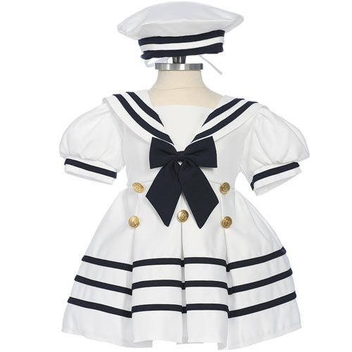 Size: Xl - Sailor Dress Girls Short Sleeve White Satin Nautical Dress With Hat (6M To 4)