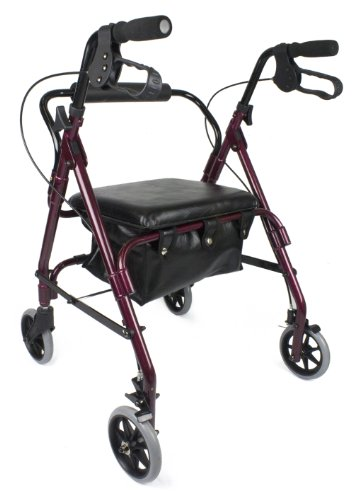 Ez2care Deluxe Padded Seat Rollator with Storage Box, Red