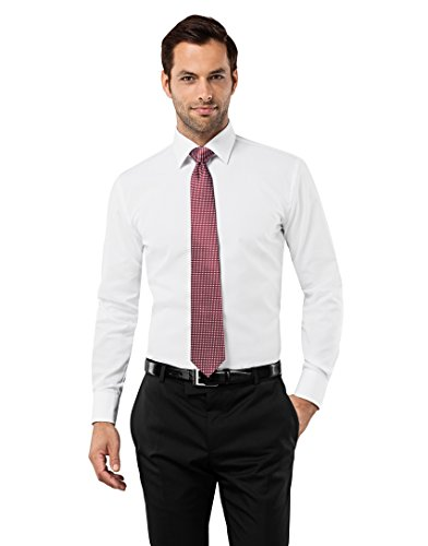 Vincenzo Boretti Men's Shirt Slim Fit Non Iron Uni,white,15.75