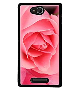 Printvisa Water Dripping Pink Rose Back Case Cover for Sony Xperia C::Sony Xperia C HSPA+ C2305