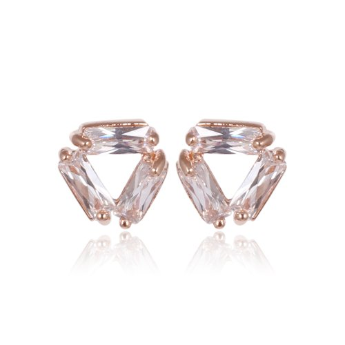Fashion Plaza 18k Rose Gold Plated Tiny Triangle Stud Earring With Square Cubic Zircon 7mm*7mm E442