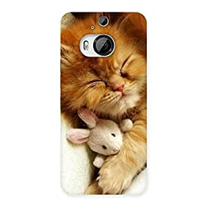 Enticing Sleeping Cat with Bunny Multicolor Back Case Cover for HTC One M9 Plus