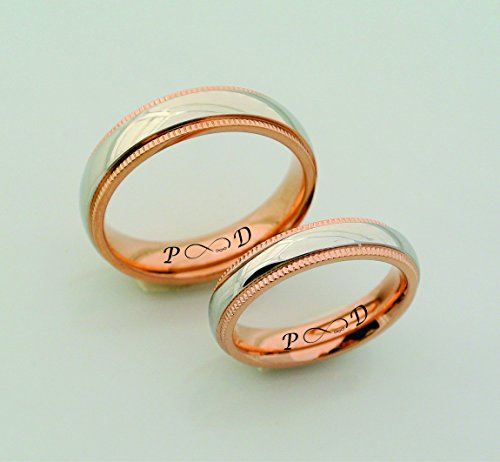 Personalized Silver Ring With Rose Gold Accent, couples ring set, engagement rings, wedding rings, bands, matching rings, promise ring, Custom Engraved Free