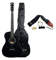 Austin Bazaar 38 Inch Black Cutaway Acoustic Guitar with Gig Bag and Accessories