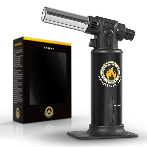 Micro Butane Blow Torch by Xpert Flame - Best Blow Torch For Culinary Food or Kitchen - Enjoy Perfect Crème Brulee & Desserts or Jewelry Soldering/Brazing Easy to Use/Refill + Free Stand & 2 E-Books (Propane Kitchen Torch compare prices)