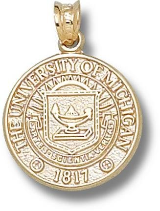 Michigan Wolverines Seal Pendant - 14KT Gold Jewelry by Logo Art