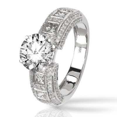 Bezel Set Princess And Pave Set Round Diamonds Engagement Ring with a 3.05, J, , SI2, EGLUSA, Certified