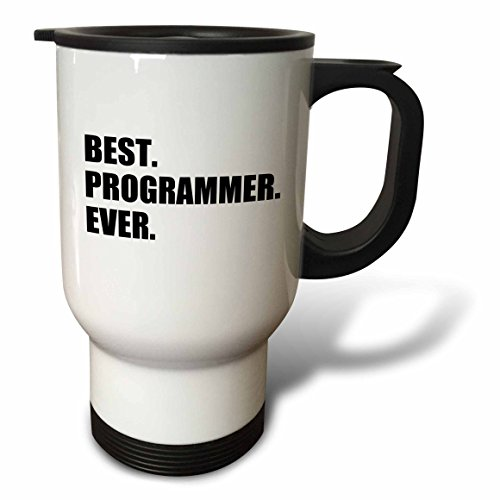 3dRose tm_185015_1 Best Programmer Ever, Fun Gift for Talented Computer Programming, Text Travel Mug, 14-Ounce, Stainless Steel