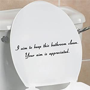 I aim to keep this bathroom clean your aim is appreciated funny toilet seat bathroom home vinyl decal sticker by Slap-Art