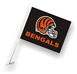 Cincinnati Bengals Car Flag W/Wall Brackett Set Of 2 - Cincinnati Bengals Car Flag