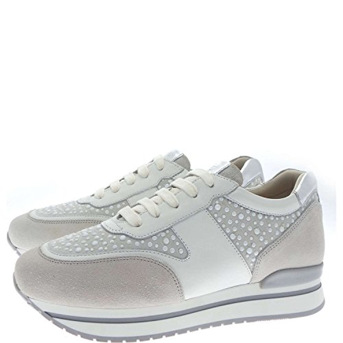 Janet Sport 35728 Sneakers Donna Pelle/camoscio Bianco /argento Bianco /argento 37