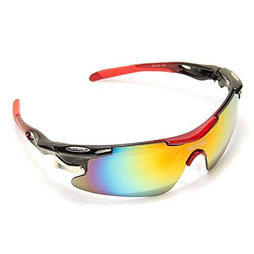 TOMOUNT Radbrille 5 Wechselgläser Fahrradbrille Sonnenbrille Schutzbrille Sportbrille UV400 BIKE Glasses + Gürteltasche