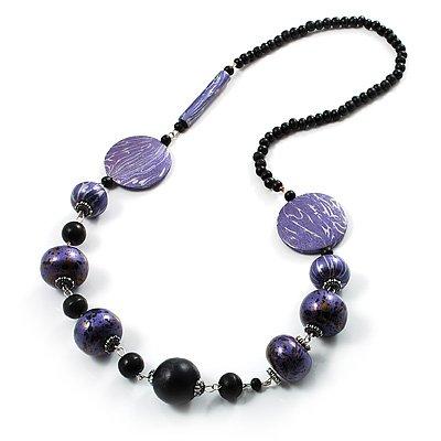 Stylish Animal Print Wooden Bead Necklace (Purple, Black & Metallic Silver)
