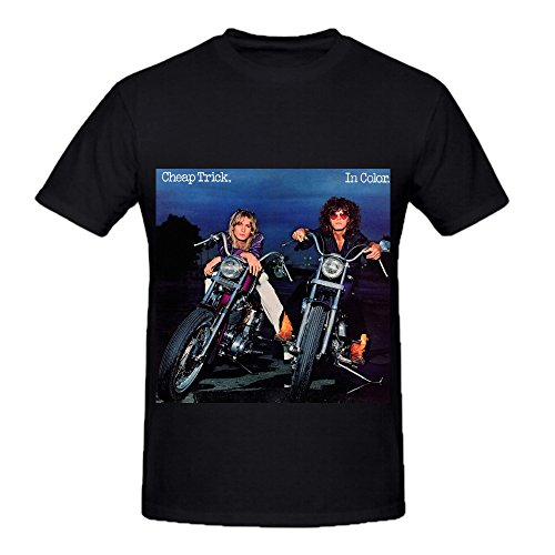 Cheap Trick In Color Electronica Men Round Neck Short Sleeve Shirts Black (Hand Fan With Camo Print compare prices)