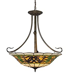 Elk 08026-Va Tiffany Buckingham 3-Light Pendant, 29-1/2-Inch, Vintage Antique With Tiffany Style Glass