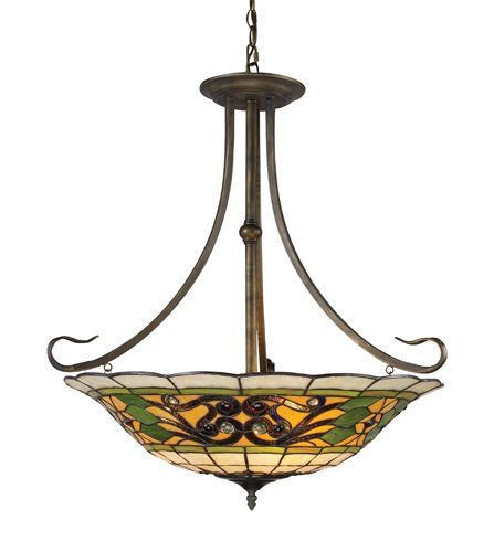 B0018L0GLI Landmark 08026-VA Tiffany Buckingham 3-Light Pendant, 29-1/2-Inch, Vintage Antique with Tiffany Style Glass