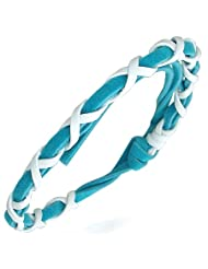 Mens Blue & White Braided Leather Tie Friendship Bracelet - Length 23cms