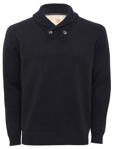 Mens Shawl Collar Button Jumper Navy M
