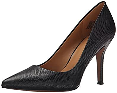 Nine West Women's Flax Reptile Dress Pump, Black Leather, 5 M US