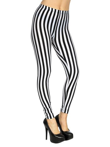Simplicity New Fashion Stripe Leggings Black White Stretchy Pants Slim Skinny