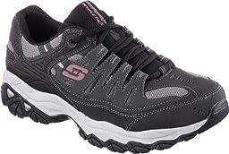 Skechers Sport Men\'s Afterburn Memory Foam Lace-Up Sneaker,Charcoal/Black,10.5 M US