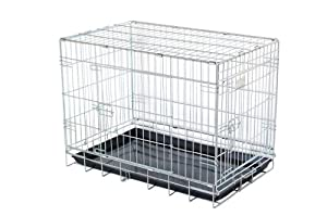 "30"" strong dog cage non chip silver by Doghealth ck30 Free travel bowl"