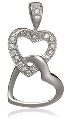 Carissima 9ct White Gold 0.10ct Diamond Double Heart Pendant