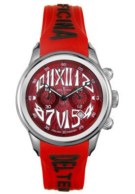 Officina Del Tempo Midsize OT1026/12RWSRS Safi Collection Chronograph Red Rubber Watch